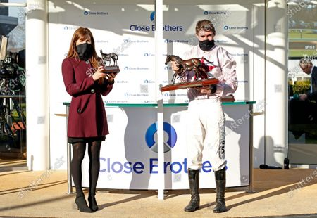Presentation to Jack Kennedy and Lisa O'Neill for The Close Brothers Mares Hurdle won by BLACK TEARS Cheltenham