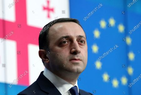 Georgia's Prime Minister Irakli Garibashvili attends a news conference after a EU-Georgia association council in Brussels, Belgium, 16 March 2021.