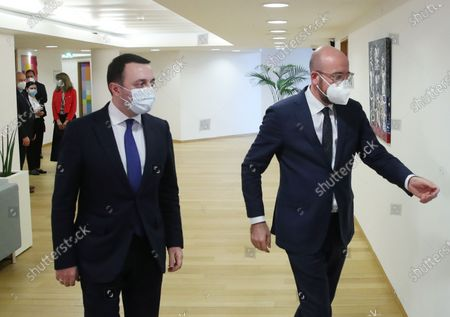 European Council President Charles Michel (R) meets with Georgia's Prime Minister Irakli Garibashvili in Brussels, Belgium, 16 March 2021.