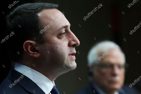Georgia's Prime Minister Irakli Garibashvili speaks during a joint online news conference with European Union foreign policy chief Josep Borrell following a EU-Georgia association council at the European Council headquarters in Brussels
