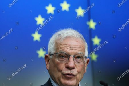European Union foreign policy chief Josep Borrell speaks during a joint online news conference with Georgia's Prime Minister Irakli Garibashvili following a EU-Georgia association council at the European Council headquarters in Brussels