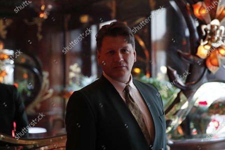Rodrigo Basilicati-Cardin, President of Pierre Cardin fashion house, delivers a press conference at Maxim's restaurant in Paris