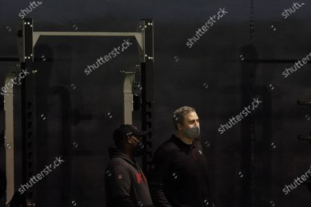 Stock Picture of Atlanta Falcons coach Arthur Smith, right, watches the players during the school's Pro Day football workout, in Atlanta