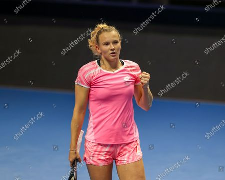 Katerina Siniakova of Czech Republic seen in action during a match against Kirsten Flipkens of Belgium at the St.Petersburg Ladies Trophy 2021 tennis tournament at Sibur Arena.Final score: (Katerina Siniakova 2 - 0 Kirsten Flipkens)