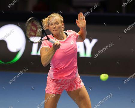 Editorial image of WTA500, St.Petersburg Ladies Trophy, Katerina Siniakova Vs Kirsten Flipkens in St.Petersburg, Russia - 16 Mar 2021