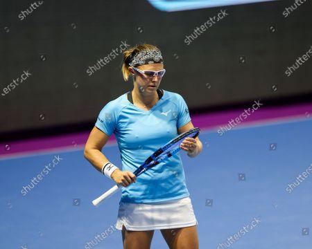 Kirsten Flipkens of Belgium seen in action during a match against Katerina Siniakova of Czech Republic at the St.Petersburg Ladies Trophy 2021 tennis tournament at Sibur Arena.Final score: (Katerina Siniakova 2 - 0 Kirsten Flipkens)