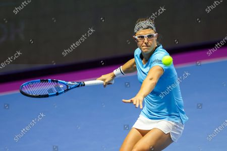 Stock Photo of Kirsten Flipkens of Belgium seen in action during a match against Katerina Siniakova of Czech Republic at the St.Petersburg Ladies Trophy 2021 tennis tournament at Sibur Arena.Final score: (Katerina Siniakova 2 - 0 Kirsten Flipkens)