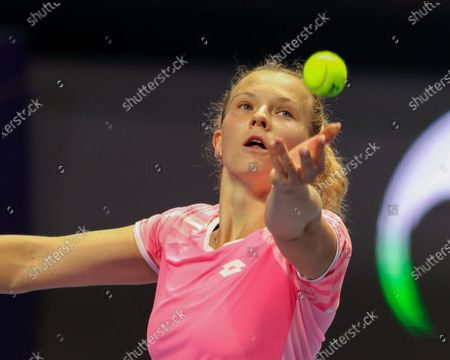 Stock Image of Katerina Siniakova of Czech Republic seen in action during a match against Kirsten Flipkens of Belgium at the St.Petersburg Ladies Trophy 2021 tennis tournament at Sibur Arena.Final score: (Katerina Siniakova 2 - 0 Kirsten Flipkens)