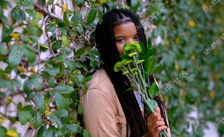 """Stock Picture of Grammy-winning songwriter Starrah poses for a portrait in Beverly Hills, Calif., on . The hitmaker for the likes of Drake, Rihanna, Maroon 5, Camila Cabello, Nicki Minaj, Halsey and Katy Perry is releasing her debut full-length album """"Longest Interlude"""" this month"""