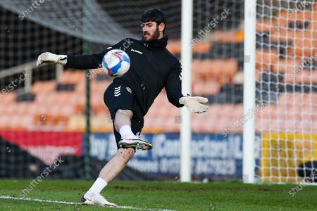 Newport County goalkeeper Tom King (1) in the pre match warm up during the EFL Sky Bet League 2 match between Port Vale and Newport County at Vale Park, Burslem