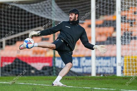 Stock Image of Newport County goalkeeper Tom King (1) in the pre match warm up during the EFL Sky Bet League 2 match between Port Vale and Newport County at Vale Park, Burslem