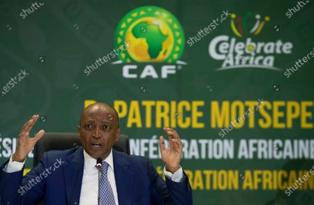 President Patrice Motsepe speaks during a news conference in Johannesburg, South Africa, . South African mining billionaire Motsepe has been elected president of the African soccer confederation without the need for a vote after a deal brokered by FIFA president Gianni Infantino saw his three challengers withdraw