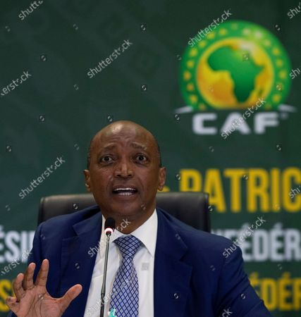 President Patrice Motsepe speaks, during a news conference in Johannesburg, South Africa, . South African mining billionaire Motsepe has been elected president of the African soccer confederation without the need for a vote after a deal brokered by FIFA president Gianni Infantino saw his three challengers withdraw