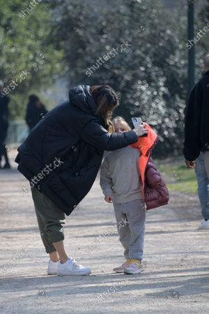 Stock Picture of Exclusive - Elisabetta Canalis with her daughter Skyler Eva at the park