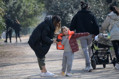Stock Image of Exclusive - Elisabetta Canalis with her daughter Skyler Eva at the park