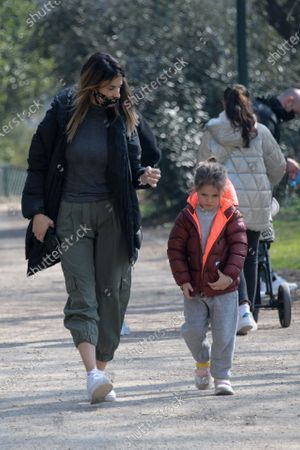 Stock Photo of Exclusive - Elisabetta Canalis with her daughter Skyler Eva at the park