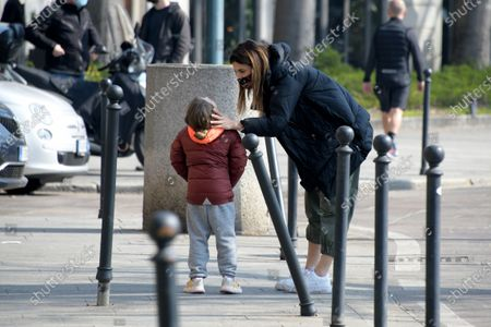 Editorial image of Exclusive - Elisabetta Canalis with her daughter out and about, Milan, Italy - 14 Mar 2021