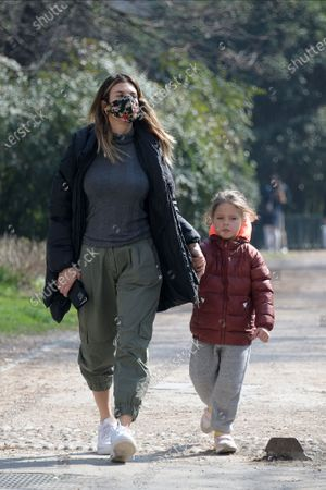 Editorial photo of Exclusive - Elisabetta Canalis with her daughter out and about, Milan, Italy - 14 Mar 2021