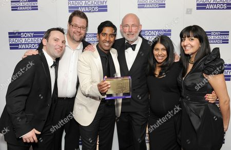 Stock Photo of DJ Nihal (3L) on BBC Asian Network - BBC News for BBC Asian Network wins Best Speech programme, with guests
