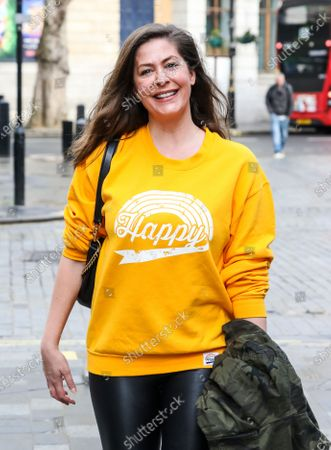 Lucy Horobin is seen arriving for her Heart FM show at the Global Radio Studios.
