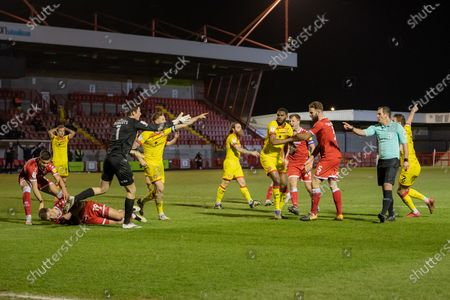 PENALTY Referee Tim Robinson points to the spot in the 97th minute of the EFL Sky Bet League 2 match between Crawley Town and Walsall at The People's Pension Stadium, Crawley