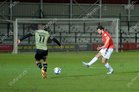 Jason Lowe during the EFL Sky Bet League 2 match between Salford City and Colchester United at the Peninsula Stadium, Salford