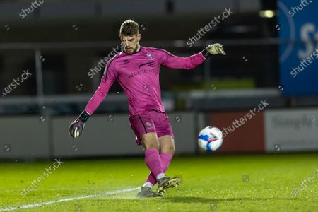 Lincoln City Goalkeeper Alex Palmer (on loan from West Brom) (1) clears during the EFL Sky Bet League 1 match between Lincoln City and Gillingham at Sincil Bank, Lincoln