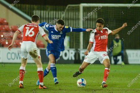Fleetwood Town's defender James Hill (33) passes the ball during the EFL Sky Bet League 1 match between Fleetwood Town and Ipswich Town at the Highbury Stadium, Fleetwood