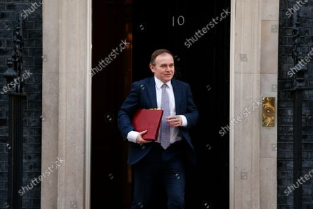 Stock Image of Secretary of State for Environment, Food and Rural Affairs George Eustice, Conservative Party MP for Camborne and Redruth, leaves 10 Downing Street in London, England, on March 16, 2021.