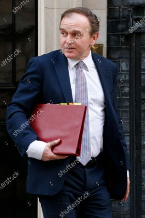 Secretary of State for Environment, Food and Rural Affairs George Eustice, Conservative Party MP for Camborne and Redruth, leaves 10 Downing Street in London, England, on March 16, 2021.