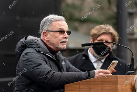 Actor Tony Plana speaks during mayor de Blasio announcement at Delacorte Theater in Central Park. Mayor was met by taxi drivers protesters who demanded debt forgiveness for exuberantly high prices of medallions they bought on city auctions. Mayor announced that open air Delacorte Theater will be open this summer for spectators to see new productions of Public Theater program Shakespeare in the Park.