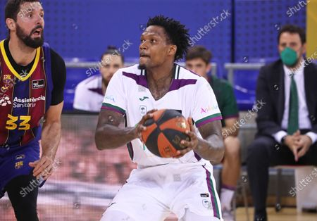 Deon Marshall Thompson during the match between FC Barcelona and Unicaja Malaga, corresponding to the week 25 of the spanish Liga Endesa , played at the Palau Blaugrana, on 16th March 2021, in Barcelona, Spain.  --