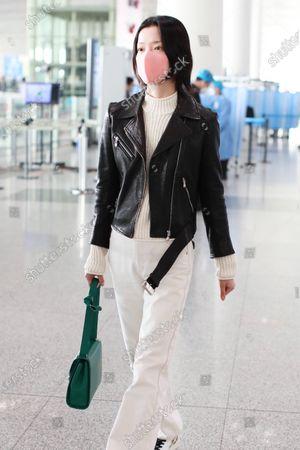 Editorial photo of Du Juan at Beijing International Airport, China - 17 Mar 2021