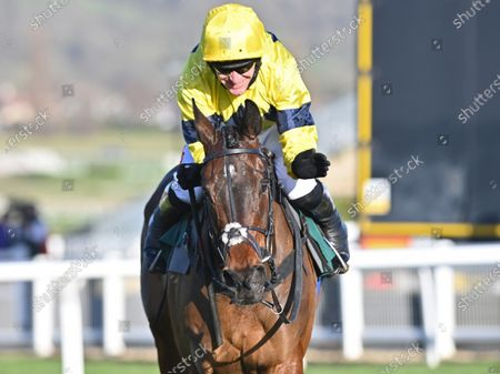 Sky Pirate and Nick Scholfield after winning The Johnny Henderson Grand Annual Challenge Cup Handicap Steeple Chase.Photo © Hugh Routledge