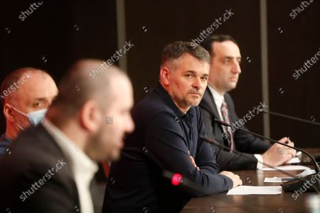 The Frenchman Willy Sagnol (2-R), new head coach of Georgia's national soccer team, attends a press conference in Tbilisi, Georgia 17 March 2021. The 43-year-old will make his debut on March 25 in a FIFA World Cup qualifiers match against Sweden.