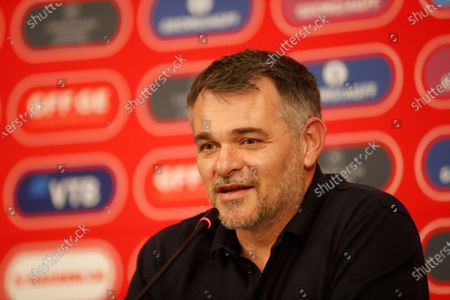 The Frenchman Willy Sagnol, new head coach of Georgia's national soccer team, attends a press conference in Tbilisi, Georgia 17 March 2021. The 43-year-old will make his debut on March 25 in a FIFA World Cup qualifiers match against Sweden.