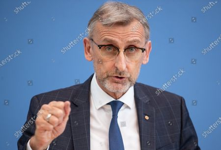 Armin Schuster, President of the Federal Office for Civil Protection and Disaster Relief, at a press conference to strengthen population protection by realigning the Federal Office for Civil Protection in Berlin, Germany, 17 March 2021.
