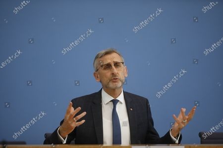 The President of Germany's Federal Office of Civil Protection and Disaster Assistance Armin Schuster addreses the media about new structures of his office during a news conference in Berlin, Germany