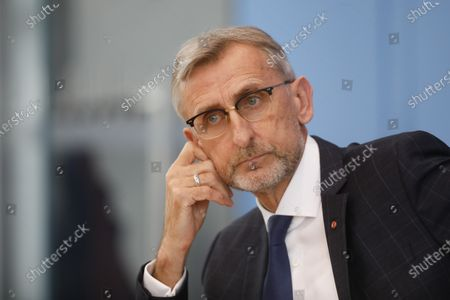 The President of Germany's Federal Office of Civil Protection and Disaster Assistance Armin Schuster attends a news conference about new structures of his office in Berlin, Germany