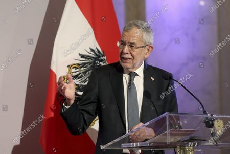 Austrian President Alexander Van der Bellen addres the media during a joint press conference with Israeli President Reuven Rivlin after their meeting at the Hofburg palace in Vienna, Austria