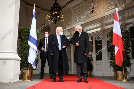 Austrian Federal President Alexander Van der Bellen (R) welcomes Israel's President Reuven Rivlin (L) in front of the Presidential Office of the Hofburg Palace, in Vienna, Austria, 17 March 2021. Israel's President Reuven Rivlin is on a one day visit to Vienna.