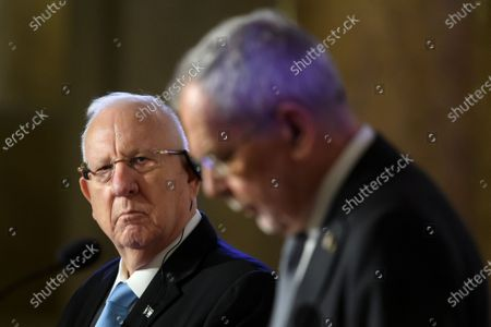 Israel's president Reuven Rivlin (L) listens to Austrian Federal President Alexander Van der Bellen (R) during a press conference at the Hofburg Palace, in Vienna, Austria, 17 March 2021. Israel's President Reuven Rivlin is on a one day visit to Vienna.