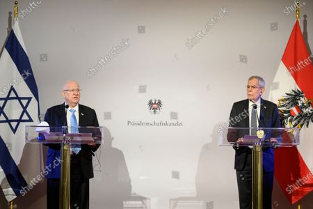Austrian Federal President Alexander Van der Bellen (R) and Israel's president Reuven Rivlin (L) attend a press conference at the Hofburg Palace, in Vienna, Austria, 17 March 2021. Israel's President Reuven Rivlin is on a one day visit to Vienna.