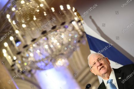 Israel's president Reuven Rivlin speaks next to Austrian Federal President Alexander Van der Bellen during a press conference at the Hofburg Palace, in Vienna, Austria, 17 March 2021. Israel's President Reuven Rivlin is on a one day visit to Vienna.