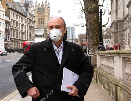 Dominic Cummings leaves Portcullis House. He criticised the Department of Health, calling it a 'total disaster' on procurement. He called it a 'smoking ruin'.Dominic Cummings appeared before the Science Committee at Portcullis house, chaired by Greg Clark.