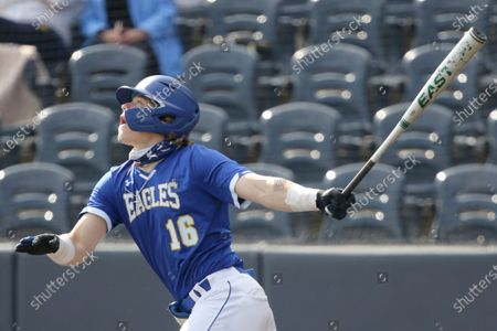 Morehead State's Cole Becker #16 in action against West Virginia during an NCAA baseball game, in Morgantown, W. Va