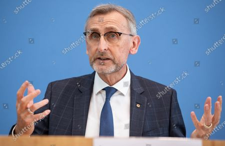 Stock Photo of Armin Schuster, President of the Federal Office for Civil Protection and Disaster Relief at Federal Press Conference to strengthen population protection.