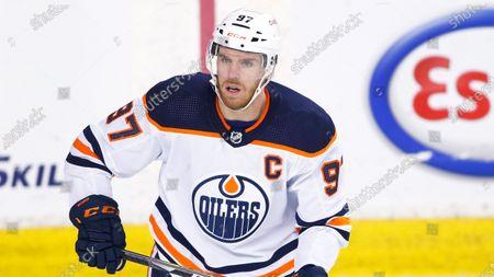Edmonton Oilers' Connor McDavid during an NHL hockey game, in Calgary, Canada