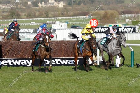 Sky Pirate and Nick Scholfield [centre] win the Johnny Henderson Grand Annual Chase at Cheltenham from On The Slopes [left] and Capuccimix [right].