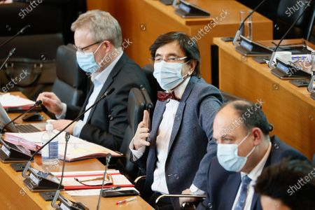 Walloon Minister President Elio Di Rupo (C) pictured during a plenary session of Walloon parliament, at the Walloon parliament in Namur, Wednesday 17 March 2021.